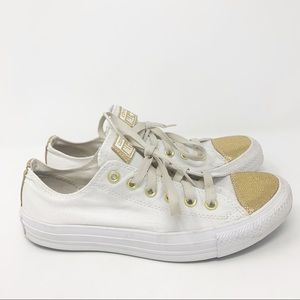 Converse All Star White and Gold Sneakers Size 9
